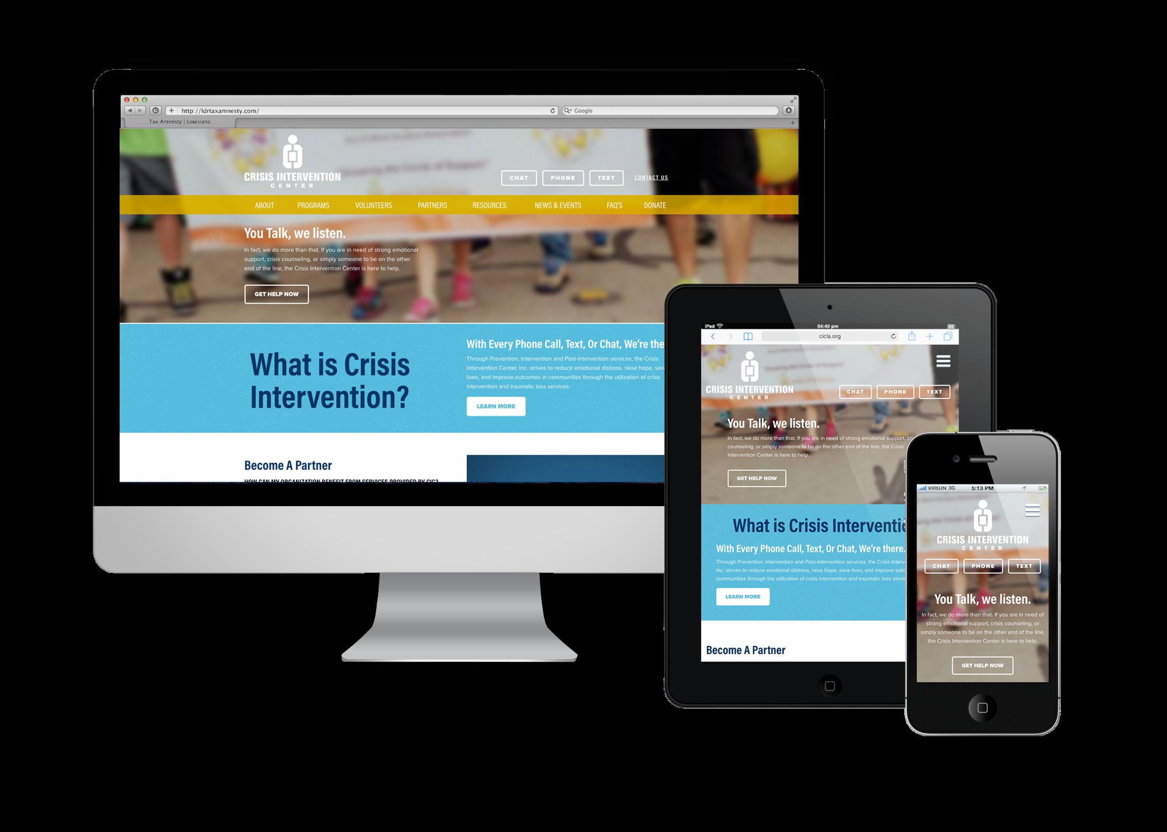 Crisis Intervention Center, New Website, Baton Rouge, Louisiana